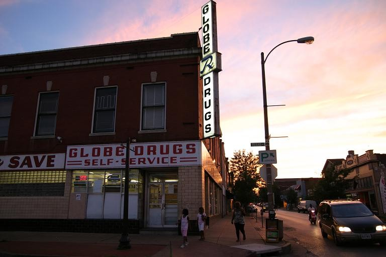 The sun sets on Globe Drugs - PHOTO BY NICHOLAS PHILLIPS