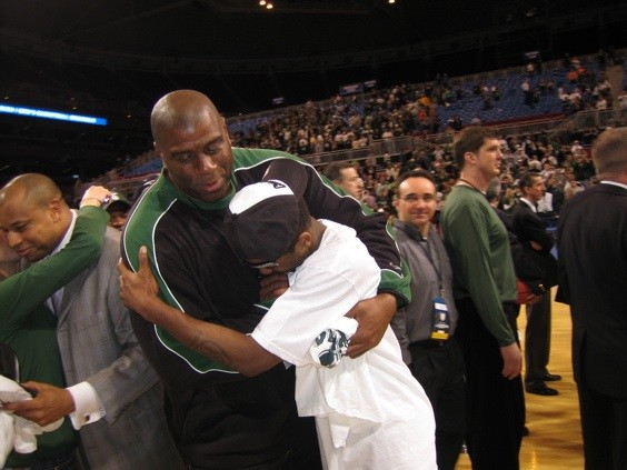 Magic Johnson and Korie Lucious celebrate another Michigan State Final Four - PHOTO BY KEEGAN HAMILTON