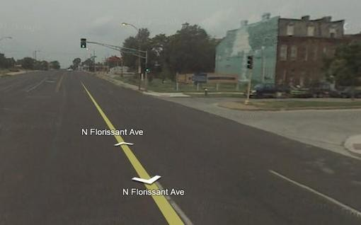 The intersection of N. Market and N. Florissant where Brandon's body was found. - GOOGLE STREET VIEW