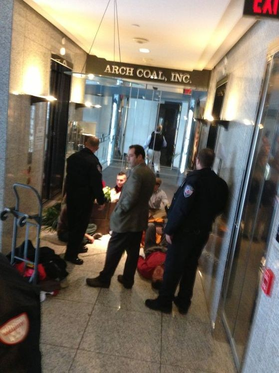 Inside the Arch building where protesters chained themselves to a potted plant. - ALL PHOTOS COURTESY OF RAMPS AND MORE.