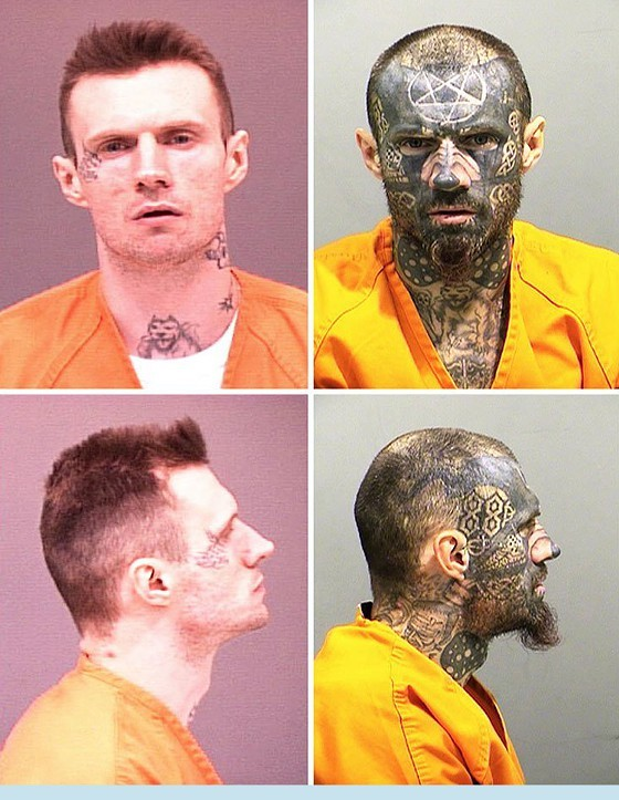 Tattoo evolution: Campbell in a 2003 mugshot for a theft charge (left) and again last week.