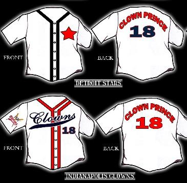 A sampling of the made-to-order jerseys available, honoring Joe Henry's Negro League career.