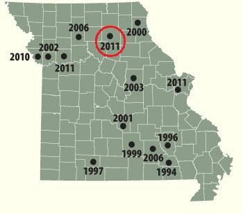 Map shows the locations of confirmed mountain lion sightings in Missouri since 1994. Saturday's killing (red circle) occurred in Macon.