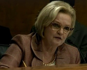 Senator Claire McCaskill at a hearing yesterday. - VIA