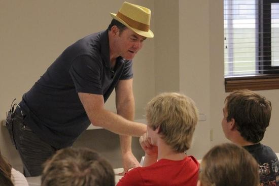 David Koechner's first event in Tipton was to speak a group of around 40 students in middle-school and grade-school. - DANNY WICENTOWSKI