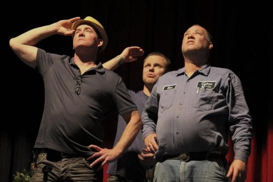 David Koechner and his brother Mark (as well as Joe Homokay in back) ponder the ad-hoc lighting system for the night's show. - DANNY WICENTOWSKI