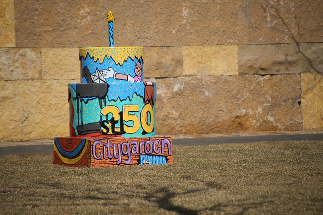 The Citygarden-inspired birthday cake for St. Louis' 250th anniversary. - PAUL SABLEMAN ON FLICKR