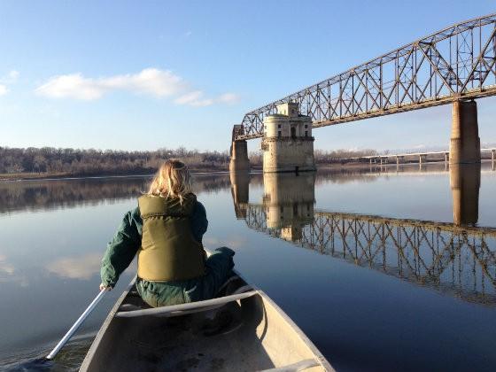 Anne McCullough on the Mississippi near the Chain of Rocks Bridge - JASON DEEM