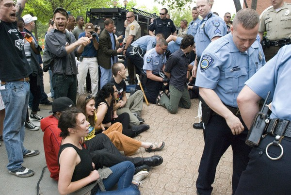 Anti-Peabody Energy protesters are arrested in St. Louis. - PHOTOS BY TAKE BACK ST. LOUIS