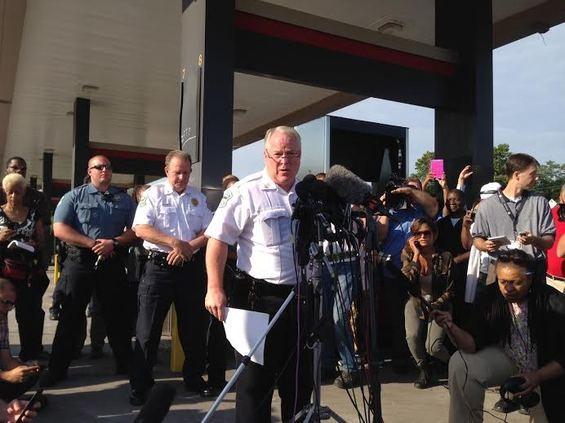 Chief Tom Jackson speaking to reporters last week in Ferguson. - CHAD GARRISON