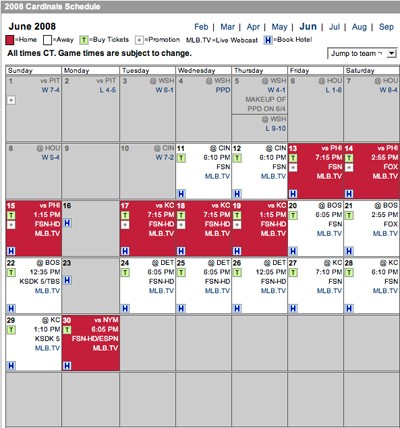 The Cardinals have seven home games and eleven road games left in the month of June.