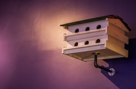 A Purple Martin house adorns the dining room.