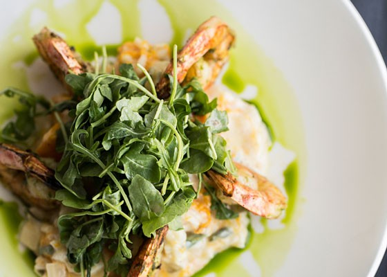 Grilled wild Gulf shrimp with butternut squash-sage risotto and arugula. | Jennifer Silverberg
