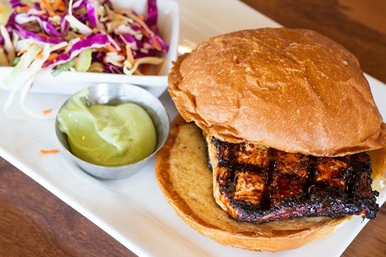 The Scottish salmon burger with Asian-style slaw and lemon-wasabi mayonnaise.