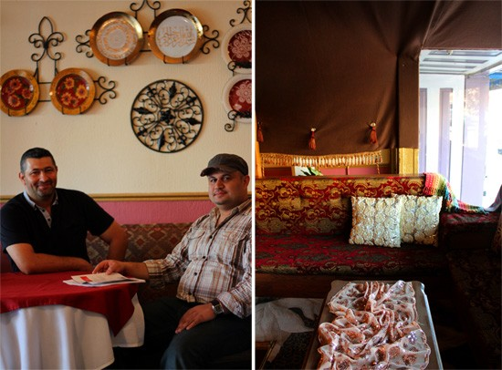Chef Wael Khudair and owner Taif Jassim. A lounging area in the window of the dining room. - MABEL SUEN
