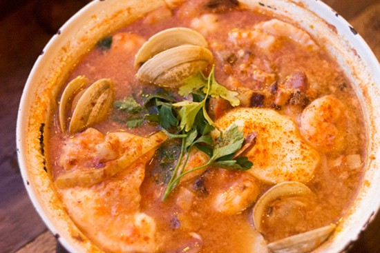 """""""Seafood Muddle"""" with potato, fennel, carrot, jalapeno, bacon, duck egg and smoked paprika."""