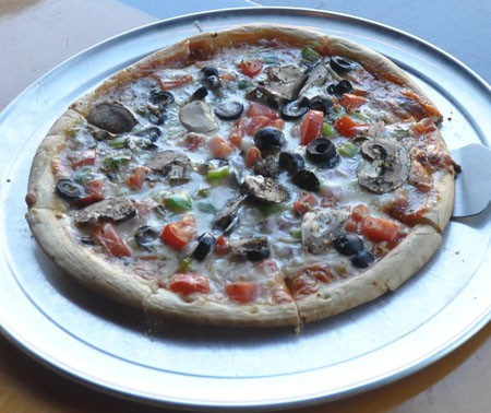 Veggie pizza at the Wood.   Tara Mahadevan
