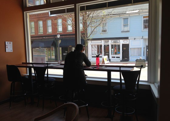 The bar looking out on Salisbury Street was made in Sun Ministries' wood shop.   Nancy Stiles