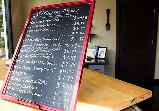 The market menu.