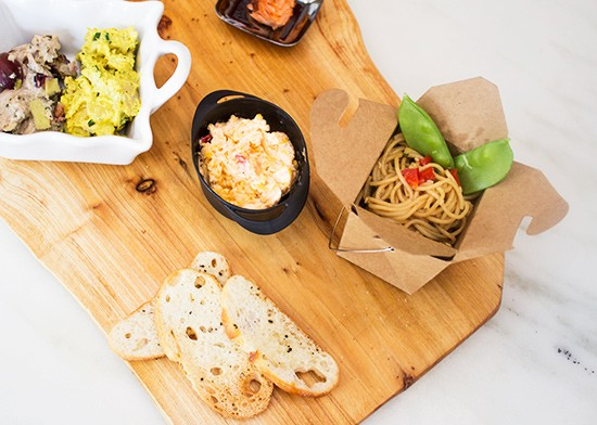 Curry and harvest chicken salad, smoked trout with bacon bourbon jam, pimento cheese, crostini and Asian noodle pasta.