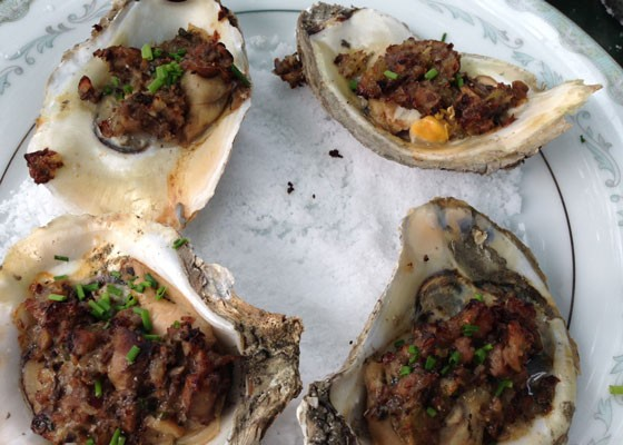 Stuffed oysters with leeks, mushrooms, shallots, Virginia ham and herbed parmagiano-reggiano. | Nancy Stiles