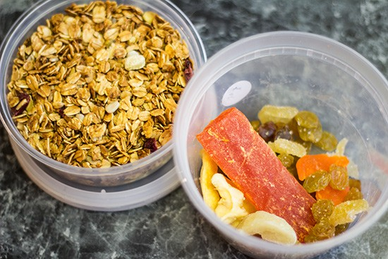 Granola and dried fruit snacks ready to grab and go.