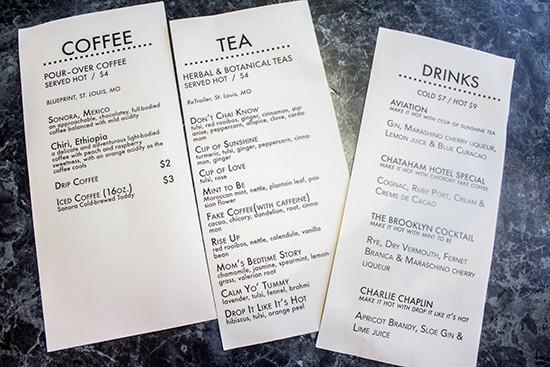 Beverage menus.
