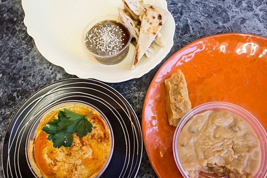 Hummus, black-sesame baba ghanoush, and pistachio halvah from Confluence Artisan Foods now available at Blank Space.   Photos by Mabel Suen