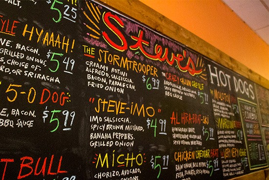 Colorful menu drawn by local artist Jason Potter.