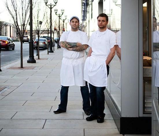Gerard Craft (left) and Adam Altnether at their Clayton restaurant Pastaria - JENNIFER SILVERBERG