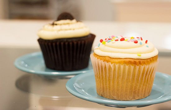 The confetti cupcake is classic yellow cake with vanilla buttercream and sprinkles.