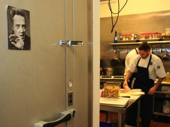 "A view of DiMercurio from the kitchen's ""Walken"" fridge 
