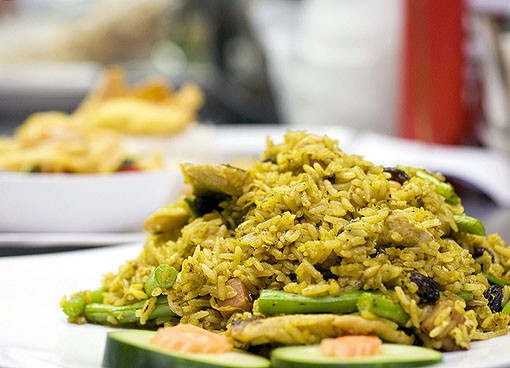 The pineapple fried rice has eggs, ham, pineapple, green beans, raisins, cashews and green onion. See a photo slideshow here. - PHOTO: JENNIFER SILVERBERG