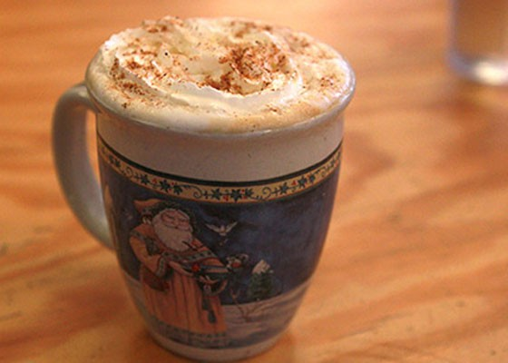 A pumpkin spice latte at Stone Spiral. In a Christmas mug. | Zoe Kline