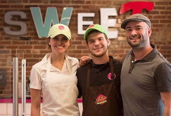 Jilly's front-of-the-house staff Rachelle Altstadt and Patrick McCullough with Jilly's vice president Jack Heffner.