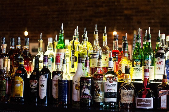 The bar's liquor selection.