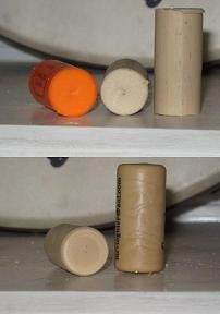 Extruded (top) and molded (bottom) plastic corks - DAVE NELSON