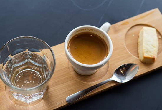 Espresso service at Living Room. | Photos by Mabel Suen