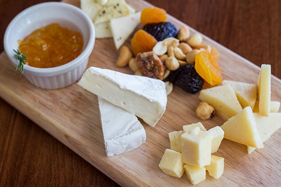 Assorted cheeses, dried fruit and nuts.