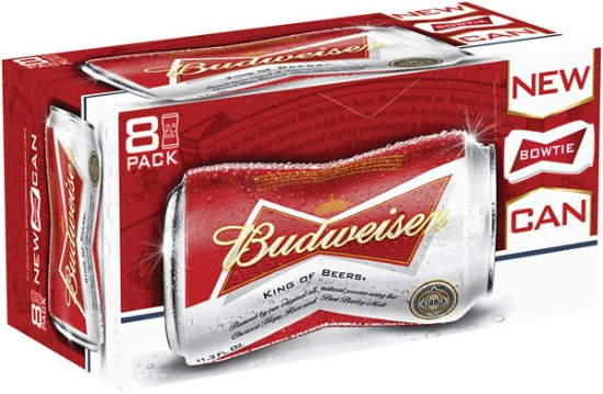 So long six-packs: Budweiser's bowtie-shape cans are sold in eight-packs. - IMAGE VIA