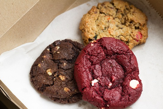 "Specialty cookies include the red velvet, chocolate white-chocolate chip and ""Monster."""