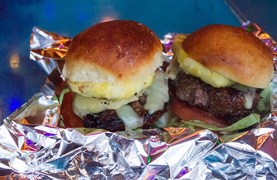 """Big Island Sliders"" with grilled pineapple."