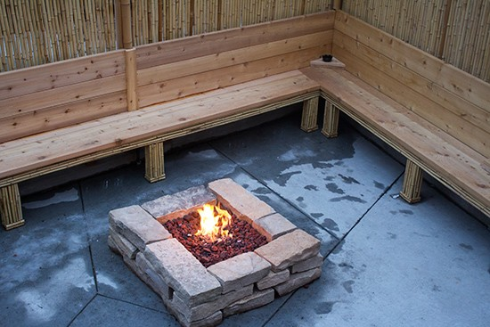 Fire pit on the patio.