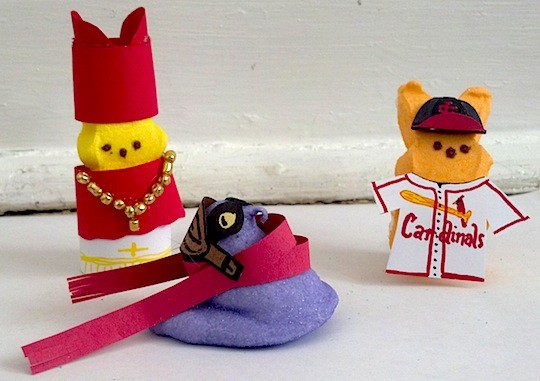Hint: These Peeps are St. Louis icons. Actually, the dude in the Cardinals baseball uniform could be any player, but we have a beloved, recently deceased Cardinal in mind. - KAITLIN STEINBERG
