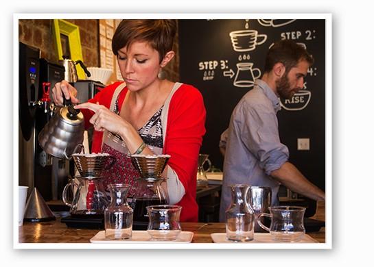 Co-owner Jessie Mueller prepares coffee with a kalita wave dripper. | Mabel Suen