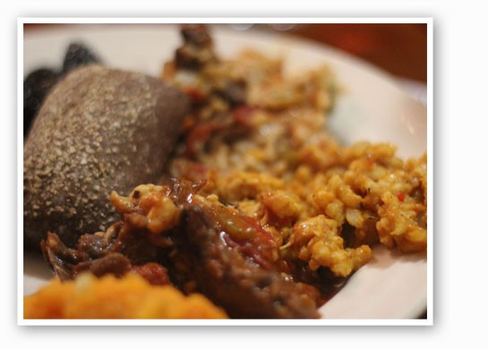 Brandied sweet potatoes with apples, squirrel and raccoon goulash, and turkey pumpkin risotto. | Nancy Stiles