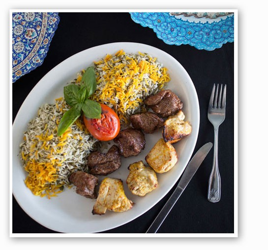Beef and chicken shish kabob served with dill herb rice at Cafe Natasha's. | Jennifer Silverberg