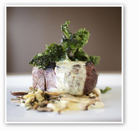 Beef filet with endive, Ozark mushrooms, bacon, tarragon and butter at Home Wine Kitchen. | Jennifer Silverberg