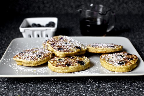 Blueberry yogurt pancakes via smittenkitchen.com