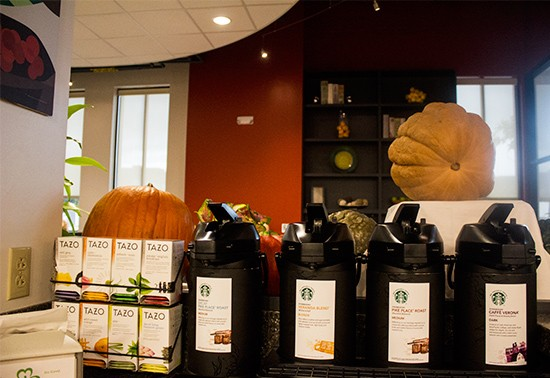 Starbucks coffee and Tazo tea available.